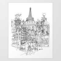 Paris B&W (Dark T-shirt … Art Print