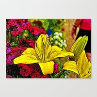 Fractal Yellow Lily Canvas Print