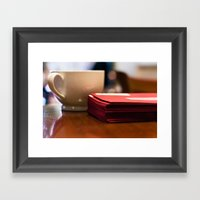 Holiday Cards and Coffee Framed Art Print