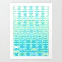 Aqua Watercolor With Omb… Art Print