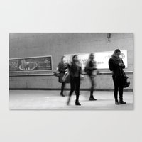 Waiting in a Montreal metro station.  Canvas Print