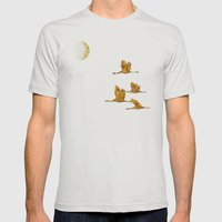 Moon-lit Flight (landscape) Mens Fitted Tee Silver SMALL