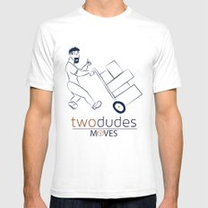 Two Dudes Moves Mens Fitted Tee SMALL White