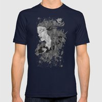 Cosmic dreams (B&W) Mens Fitted Tee Navy SMALL