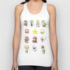 Mario Characters Watercolor  Unisex Tank Top