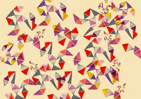 watercolour geometric shapes Art Print