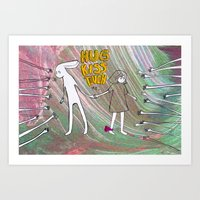 Hug, Kiss, Touch me Art Print