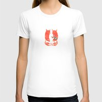 Mister Fox in love Womens Fitted Tee White SMALL
