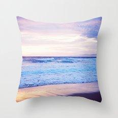 Purple Sunset over Hermosa Beach, Los Angeles  Throw Pillow