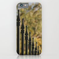 iron fence, yellow leaves iPhone 6 Slim Case