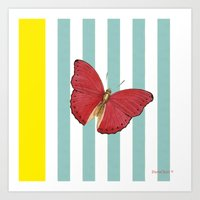 Coral butterfly Art Print