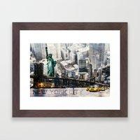 New York City - Collage Framed Art Print