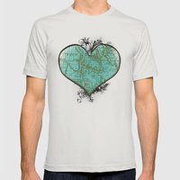 Heart #3 Mens Fitted Tee Silver SMALL
