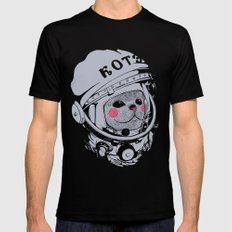 Spaceman cat Mens Fitted Tee Black SMALL