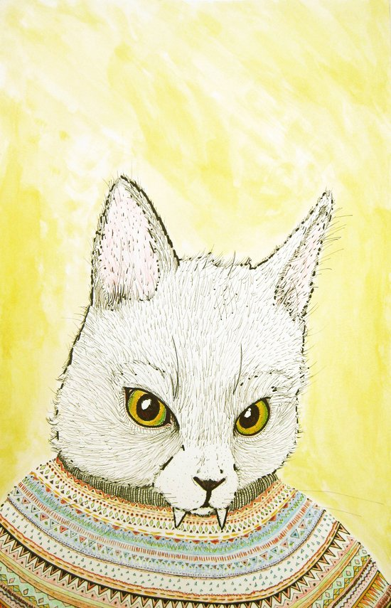 SWEATER AND ALSO CAT Art Print