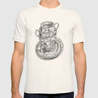 Stacked Tea Cups Mens Fitted Tee Natural SMALL