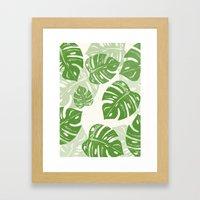 Linocut Monstera Leaf Pattern Framed Art Print