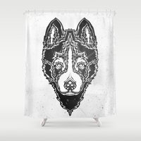 Dog Black  Shower Curtain