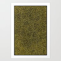 Black and golden swirls zentangle Art Print