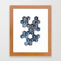 Monochromatic Dark Cubes Framed Art Print