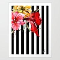 stripes Art Prints featuring FLORA BOTANICA | stripes by Cheryl Daniels