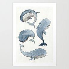Dancing Whales Art Print