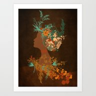 Mujer Floral Art Print