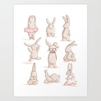 Cute Bunnies, Playing Dr… Art Print