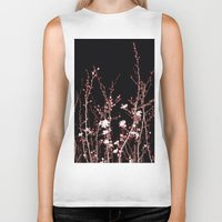 Winter Night Flowers Biker Tank