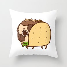 Puglie Taco Throw Pillow