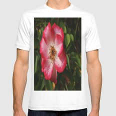 Pink Flower SMALL Mens Fitted Tee White