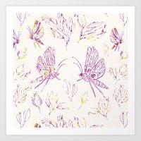 Butterflies In Purple An… Art Print