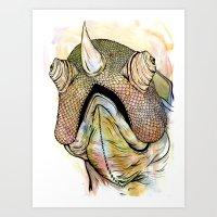 Horned Iguana Art Print