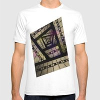 Abstract Mixed Media Des… Mens Fitted Tee White SMALL