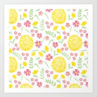 Watercolor floral pattern with doily Art Print