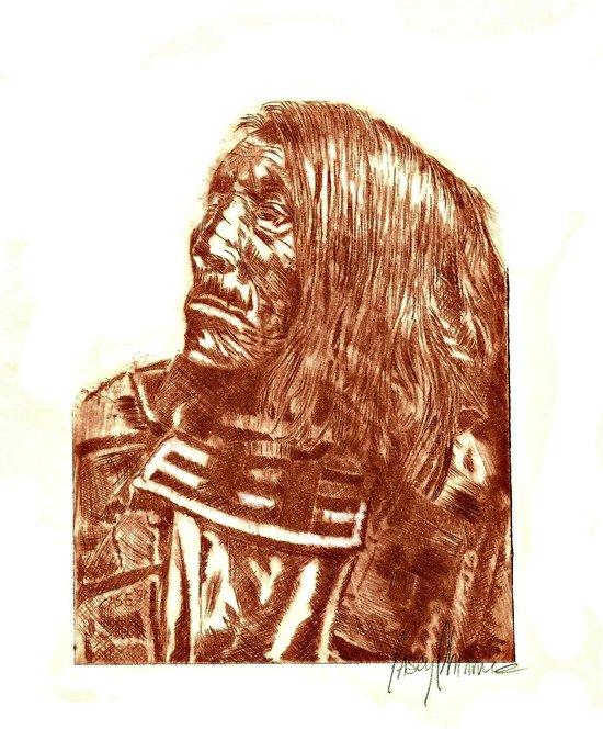 Native Etch in warm brown Art Print