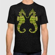 Seahorse – Lime & Gold Mens Fitted Tee Tri-Black SMALL