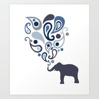 Multi-Blue Paisley Elephant Pattern Design Art Print