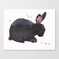 bunny, black rabbit, magic rabbit, rabbit painting,  Canvas Print