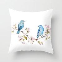 Mountain Bluebirds on Sakura Branch Throw Pillow