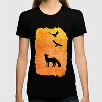 Roaming Fox 2 Womens Fitted Tee Black SMALL
