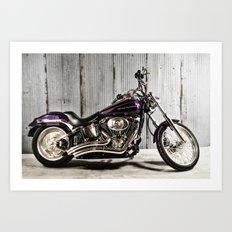 Purple Harley Softail Art Print