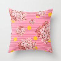 hydrangea spots and stripes Throw Pillow