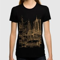 New York! Night Womens Fitted Tee Black SMALL