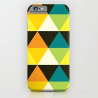 Teal, mustard, black & yellow triangles iPhone 6 Slim Case
