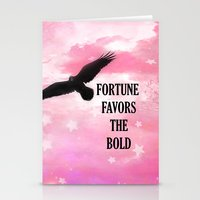 Surreal Fantasy Pink Nature Raven Typography Stationery Cards