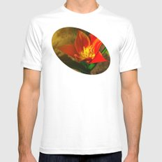 Red Flower In The Mornin… Mens Fitted Tee White SMALL