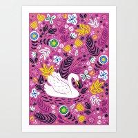 Delightful Swan Art Print
