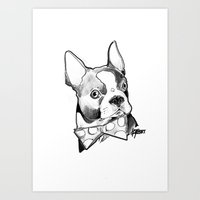Bow Tie BostonTerrier Bl… Art Print