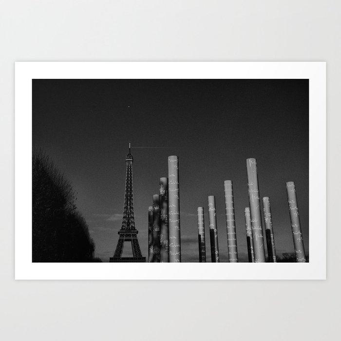 paris en noir et blanc tour eiffel art print by s bastien bouvier society6. Black Bedroom Furniture Sets. Home Design Ideas